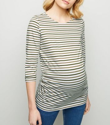 Maternity Green Stripe 3/4 Sleeve T-Shirt