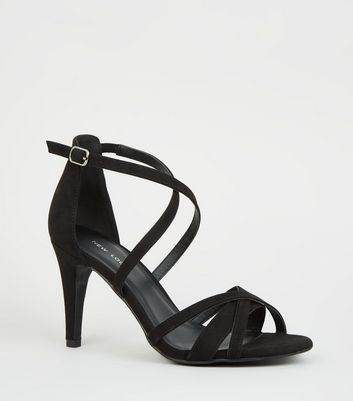 Black Suedette Strappy Stiletto Heel Sandals