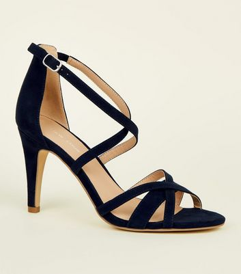 Navy Suedette Strappy Stiletto Heel Sandals