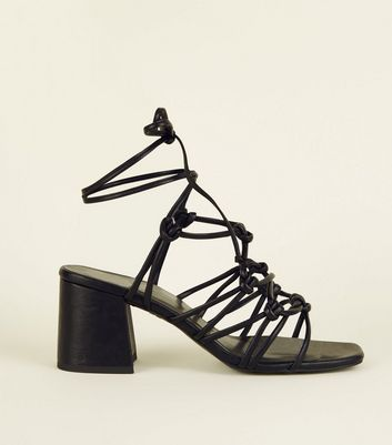 Black Knot Strap Ankle Tie Heeled Sandals
