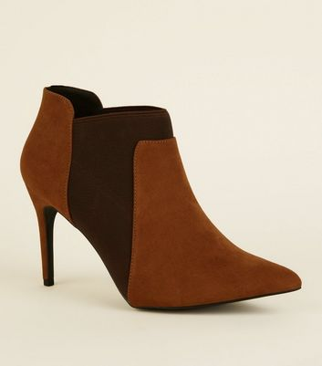 Tan Suedette Stiletto Chelsea Shoe Boots