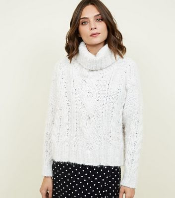 Off White Chenille Cable Knit Boxy Jumper