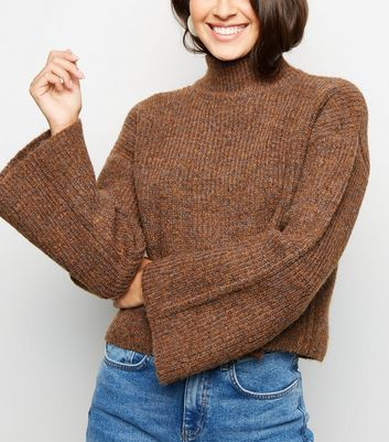 Rust Flare Sleeve Boxy Jumper