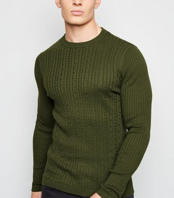 Khaki Long Sleeve Cable Knit Jumper