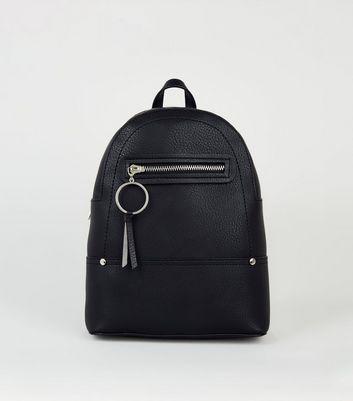 Black Ring Zip Mini Backpack by New Look
