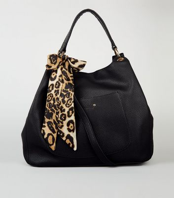 Black Leather-Look Leopard Scarf Hobo Bag