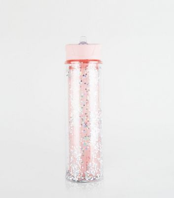 Pink Glitter Flip Straw 550ml Water Bottle