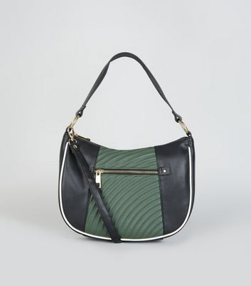 Black Colour Block Quilted Hobo Bag