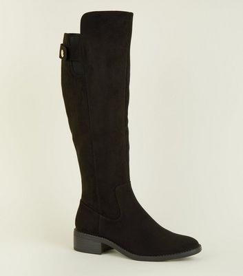 Black Popper Strap Flat Knee High Boots