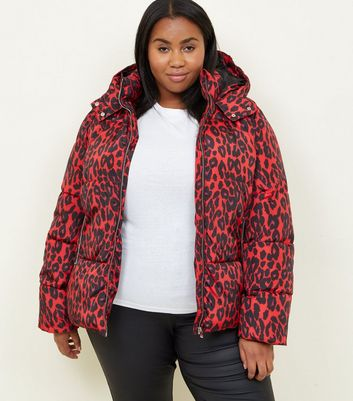 Curves Red Leopard Print Hooded Puffer Jacket