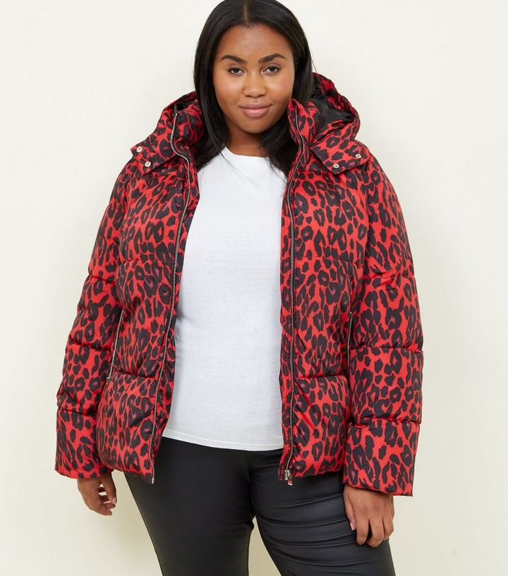a849ed11f7a0 Curves Red Leopard Print Hooded Puffer Jacket   New Look