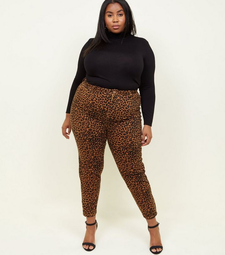 ad8a1d34a513 Curves Brown Leopard Print Skinny Jeans | New Look