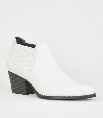White Faux Snake Low Cut Western Boots