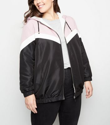Curves Pink Block Fleece-Lined Windbreaker