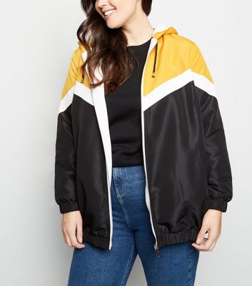 Curves Mustard Block Fleece-Lined Windbreaker