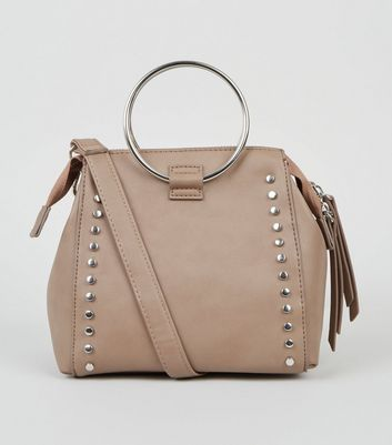 Mink Leather-Look Studded Ring Handle Bag