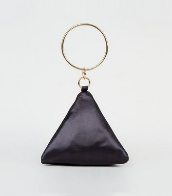 Black Satin Triangle Clutch Bag by New Look