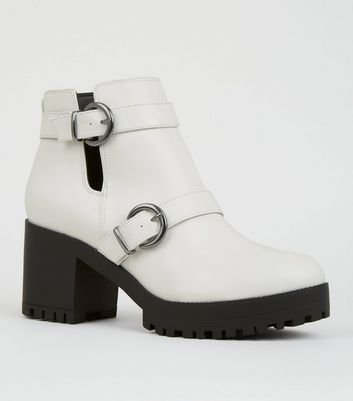 White Cut Out Ring Strap Chunky Ankle Boots