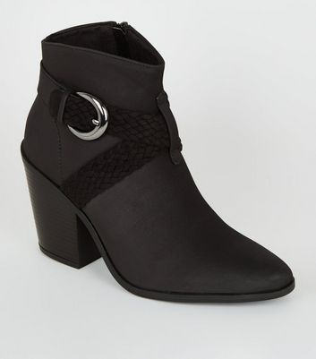 Black Woven Strap Heeled Western Boots