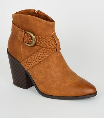Tan Woven Strap Heeled Western Boots