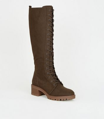 Khaki Suedette Lace-Up Calf Hiker Boots
