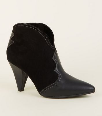 Black Cone Heel Western Boots by New Look