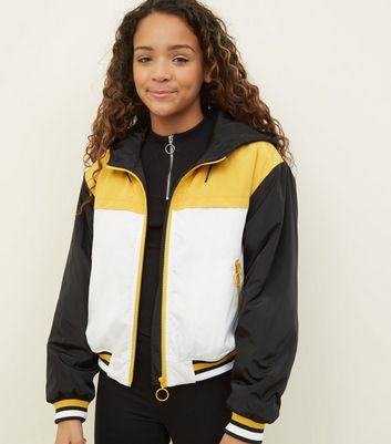 Girls Mustard Colour Block Padded Windbreaker