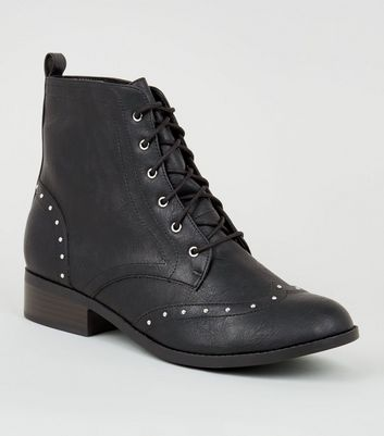 Black Leather-Look Studded Brogue Boots