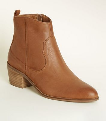 Tan Leather Western Ankle Boots