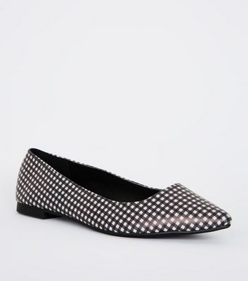 Black and White Gingham Check Pointed Plimsolls