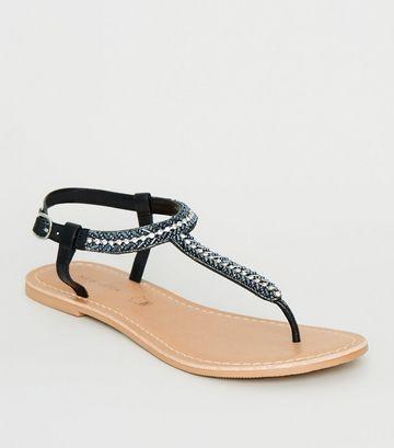 Black Leather Strap Diamanté and Bead Sandals
