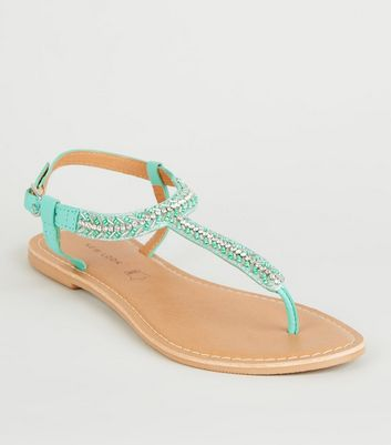 Mint Green Leather Strap Diamanté and Bead Sandals