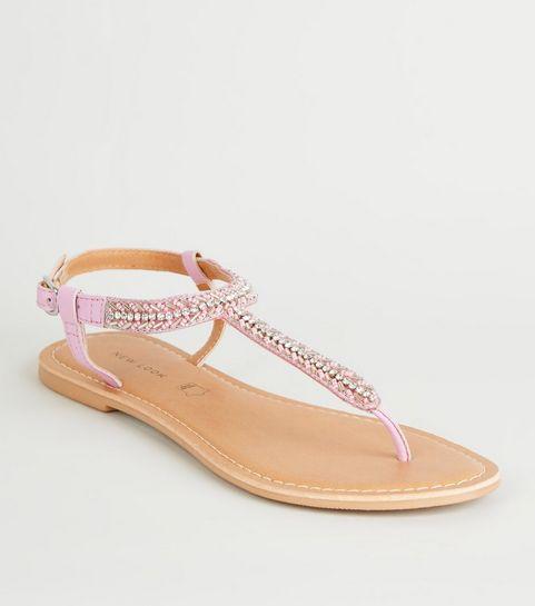 c8602d6bcb9c2 ... Lilac Leather Strap Diamanté and Bead Sandals ...
