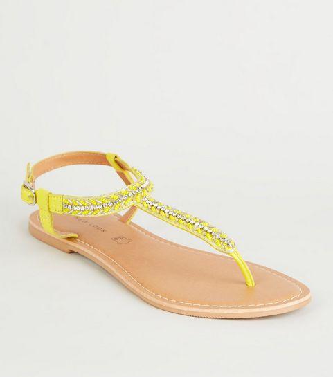 3ad4e52de9679 ... Yellow Leather Strap Diamanté and Bead Sandals ...