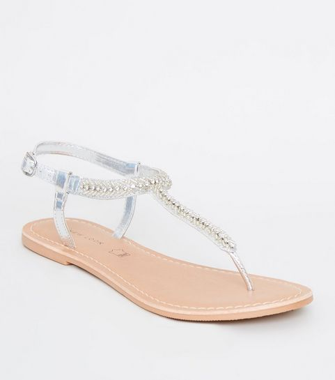 ffd2bf18b271 ... Silver Leather Strap Diamanté and Bead Sandals ...