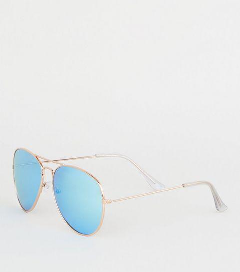 ... Lunettes de soleil aviateur bleu vif à verres effet miroir ... be975889aadd