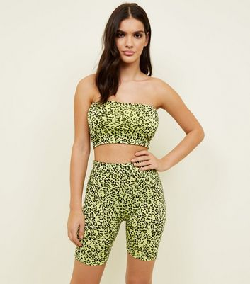 Green Neon Leopard Print Cycling Shorts