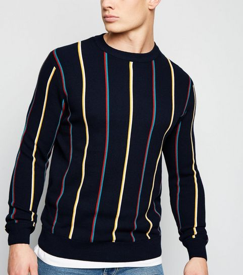 6131ee3fc9852 ... Navy Vertical Stripe Crew Neck Jumper ...