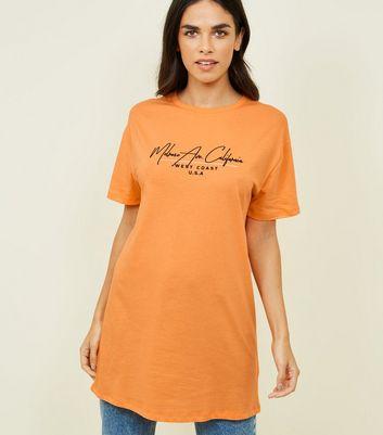 Longline orange slogan tee