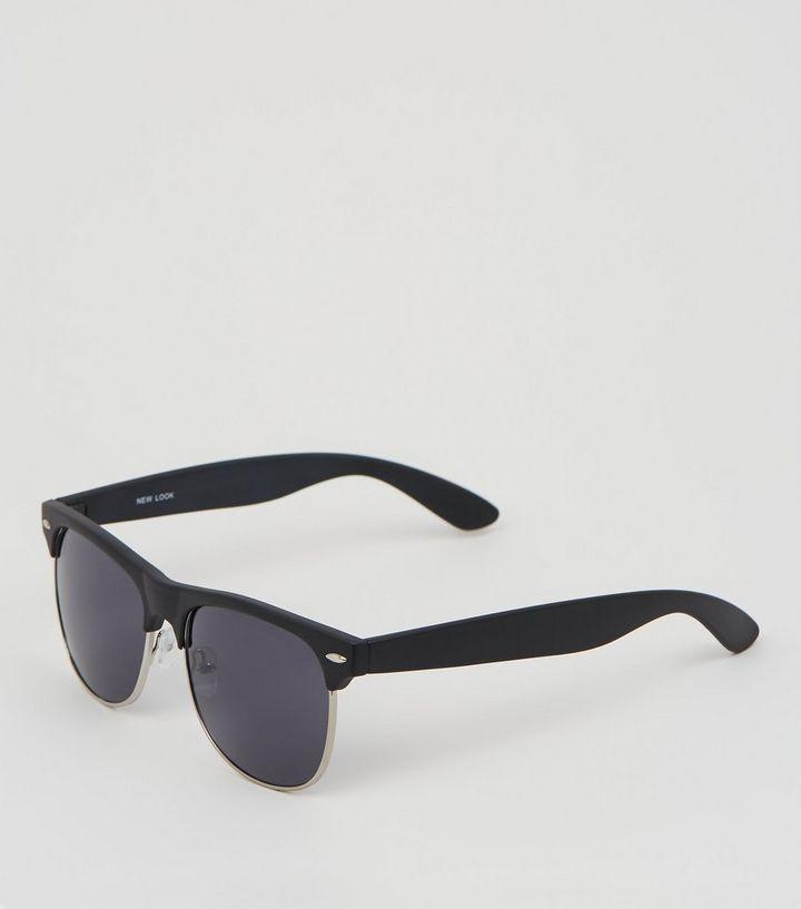 5b59fa48b8 Black Lens Square Frame Retro Sunglasses