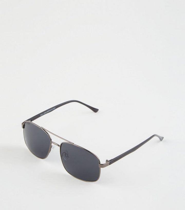 Black Square Frame Pilot Sunglasses  a5e10ddc038