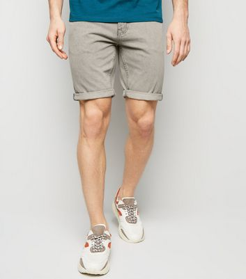 Pale Grey Washed Denim Shorts
