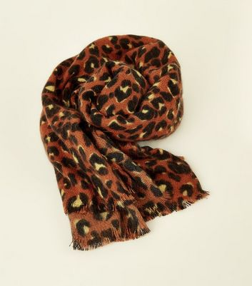 Rust Brushed Leopard Print Scarf