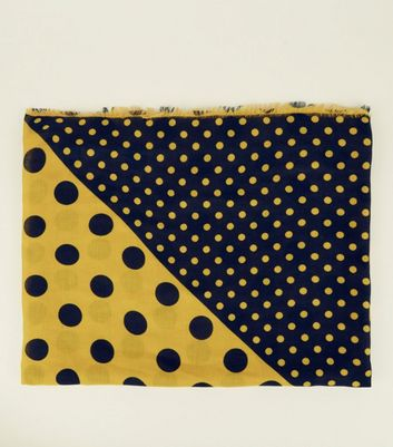 Navy and Mustard Mixed Spot Print Longline Scarf