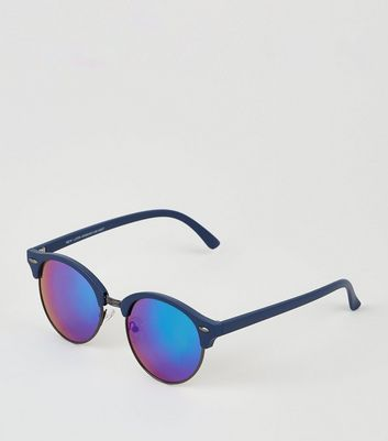 Blue Round Frame Retro Sunglasses