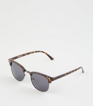 Brown Faux Tortoiseshell Retro Square Sunglasses