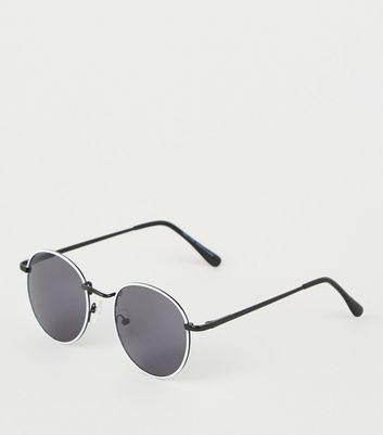 White Tinted Metal Round Sunglasses