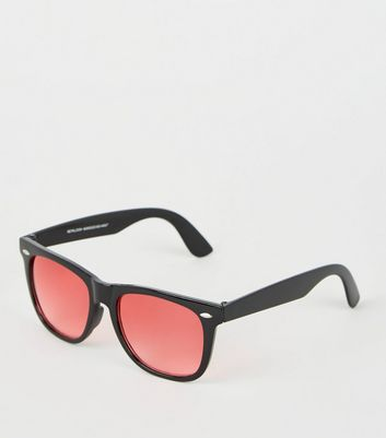 Red Tinted Matte Square Frame Sunglasses