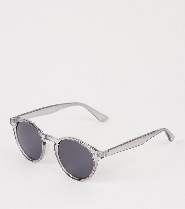 633f198da3 Dark Grey Clear Frame Round Sunglasses