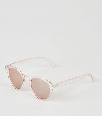 Roségoldfarbene, runde Sonnenbrille in transparenter Optik
